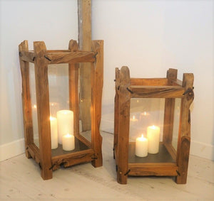 Medium Wooden Hurricane Candle Lantern - Kubo