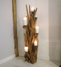 Load image into Gallery viewer, Teak Root Wooden Floor Candle Holder - High