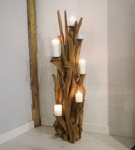 Teak Root Wooden Floor Candle Holder - Medium