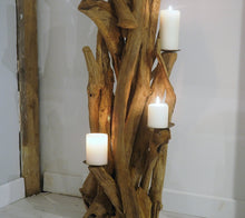 Load image into Gallery viewer, Teak Root Wooden Floor Candle Holder - Medium