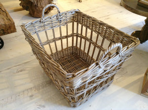 Natural Wicker Rectangular Basket With Handles