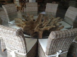 Round Teak Root Dining Set with 8 Natural Kubu Chairs