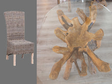 Load image into Gallery viewer, Oval Teak Root Dining Set with 4 Natural Kubu Chairs