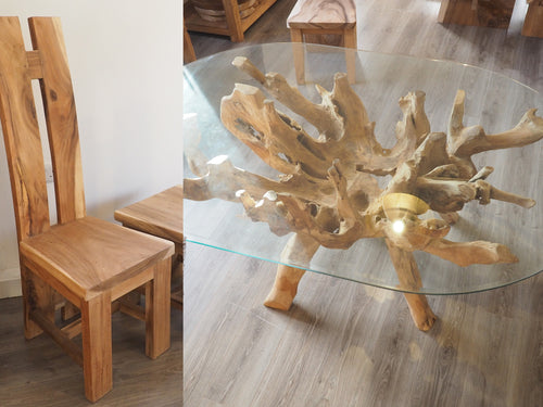 Oval Teak Root Dining Set with 6 H-Back Chairs