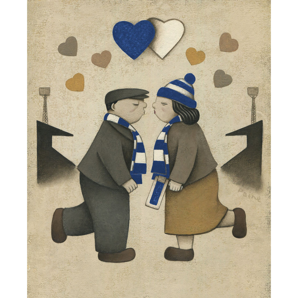 Cardiff City Gift Love on the Terraces Ltd Edition Football Print by Paine Proffitt | BWSportsArt