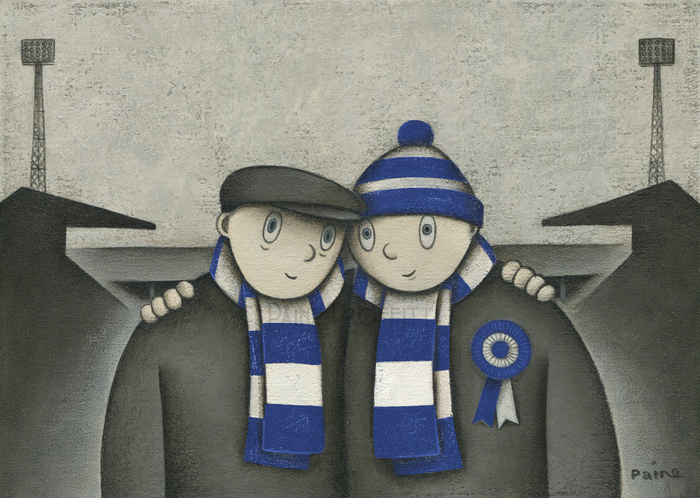 Wigan Athletic Gift With Him On a Saturday Ltd Edition Football Print by Paine Proffitt