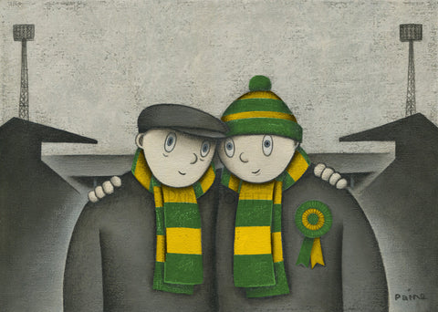 Norwich City Gift With Him On a Saturday Ltd Signed Football Print by Paine Proffitt