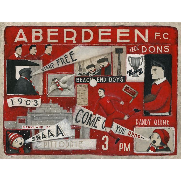Aberdeen Gift - Aberdeen FC Ltd Edition Signed Football Print Ltd Edition Print Football Gift