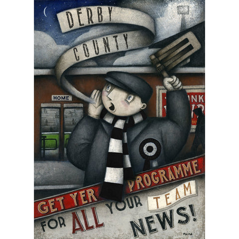 Derby County Gift - DCFC Get Yer Programme Ltd Edition Signed Football Print - BWSportsArt