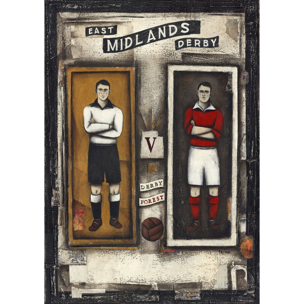 Derby County Gift - Derby v Forest Players Ltd Edition Signed Football Print - BWSportsArt