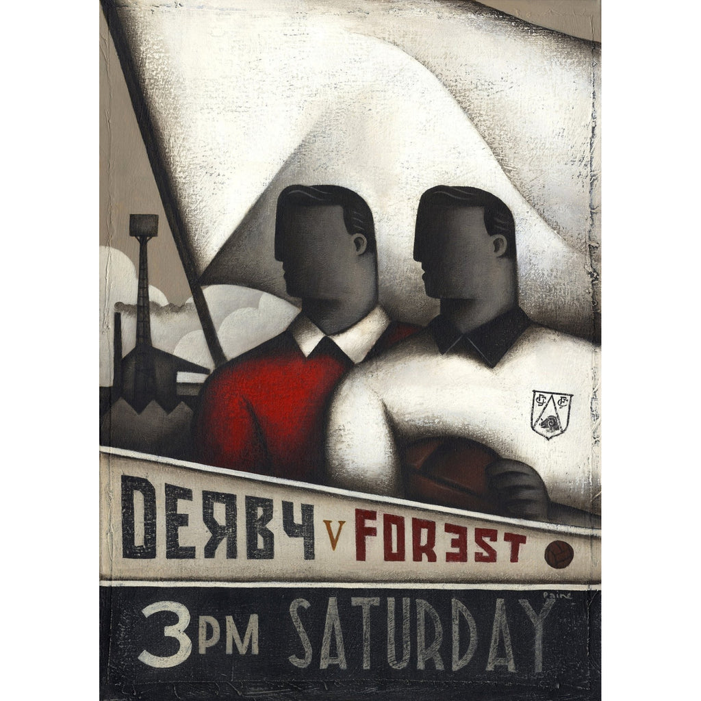 Derby V Forest - Soviet Ltd Edition Signed Football Print by Paine Proffitt | BWSportsArt