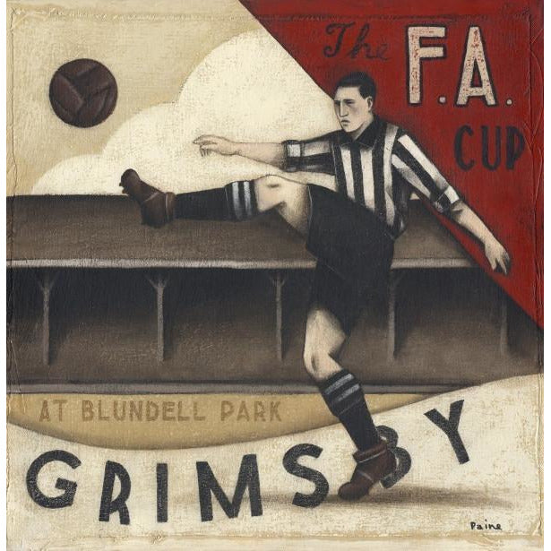 Grimsby Town Gift - Grimsby Town FA Cup Ltd Edition Football Print by Paine Proffitt | BWSportsArt