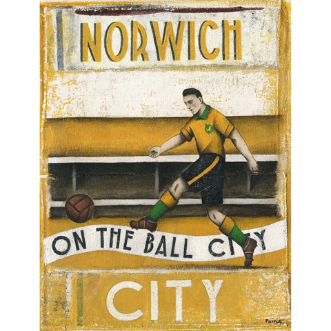 Norwich City FC - On The Ball City Artist Proof Print by Paine Proffitt - BWSportsArt