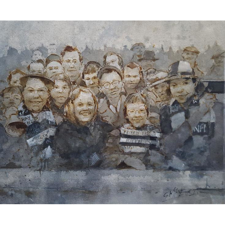 Port Vale Football Art - The Valiants Crowd at Fulham 1962 by Geoffrey Wynne RI - BWSportsArt