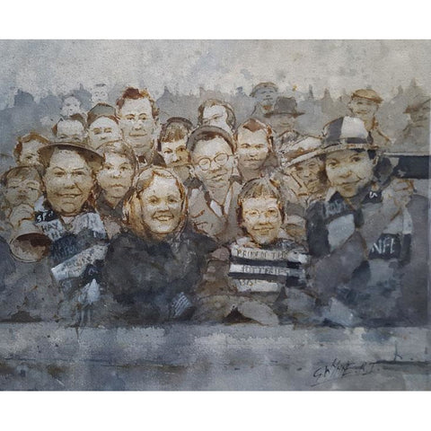 Port Vale Football Art - The Valiants Crowd at Fulham 1962 by Geoffrey Wynne RI | BWSportsArt