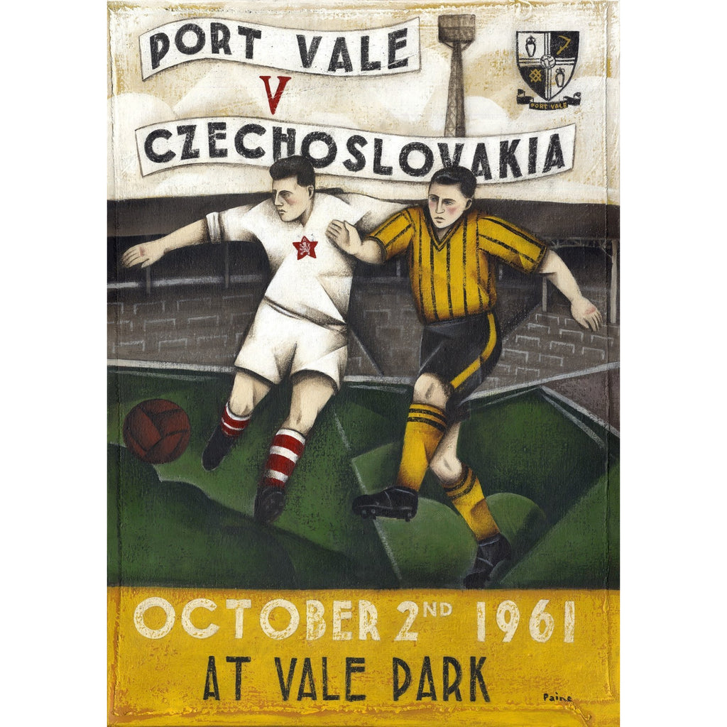 Port Vale Gift - Port Vale vs Czechoslavakia Limited signed Football Print - BWSportsArt