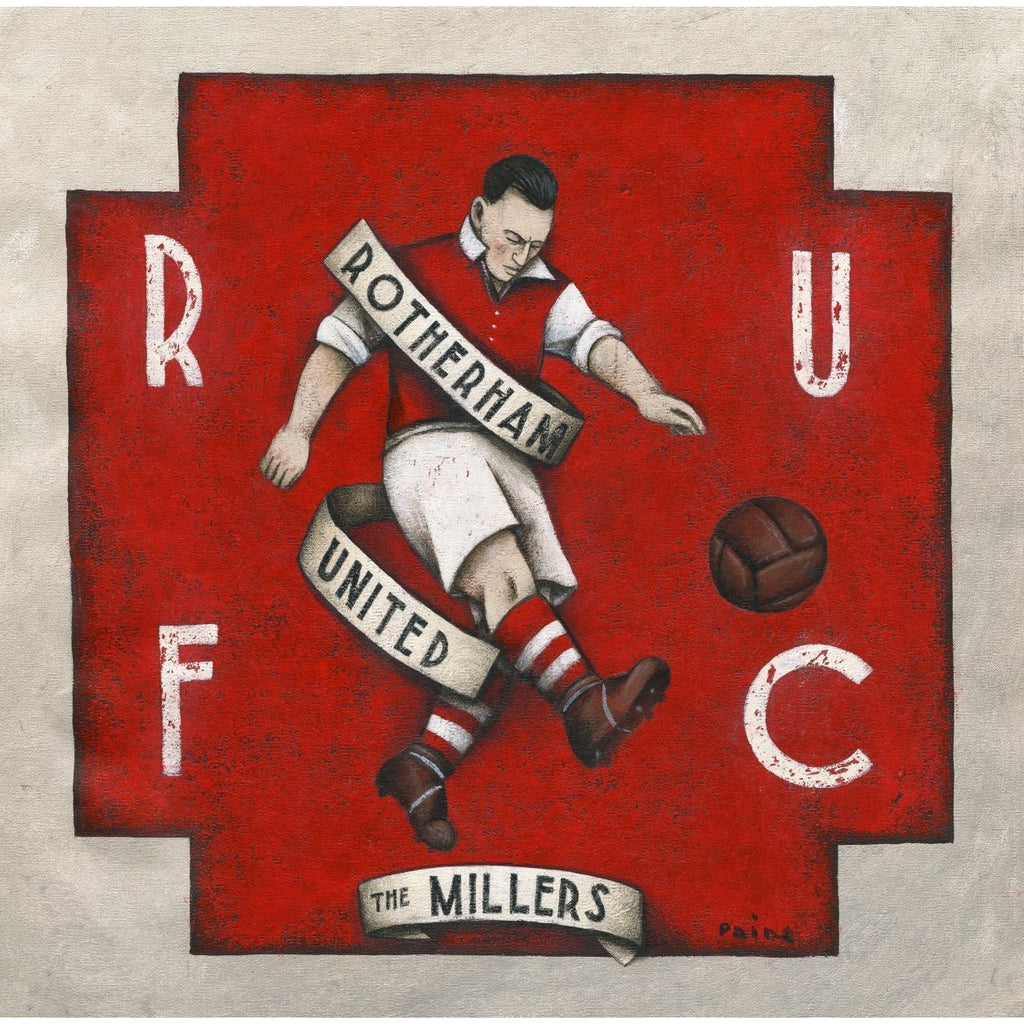 Rotherham Football Gift - The Millers Ltd Ed Signed Football Print - BWSportsArt