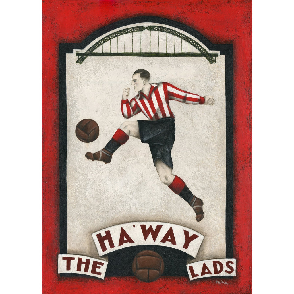 Sunderland Gift - Sunderland Bridge Limited Edition Football Print by Paine Proffitt - BWSportsArt