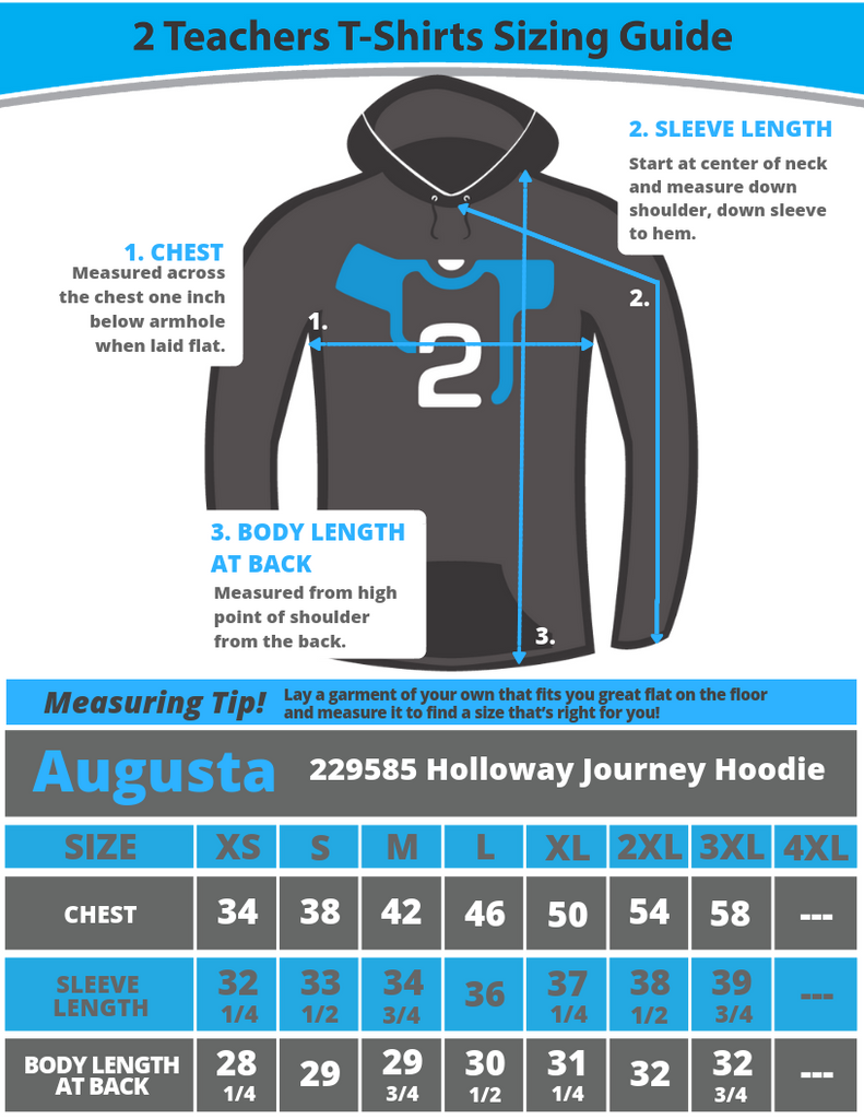 Holloway Journey Hoodie 229585 Sizing Guide