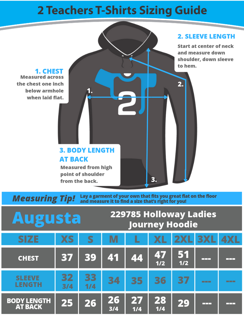 Holloway Journey Hoodie 229785 Sizing Guide