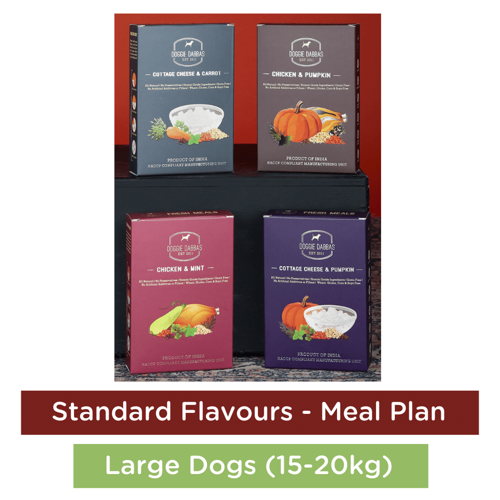 Doggie Dabbas Fresh Meals - Meal Plan for Large Dogs (15-20kg) - Standard Flavours
