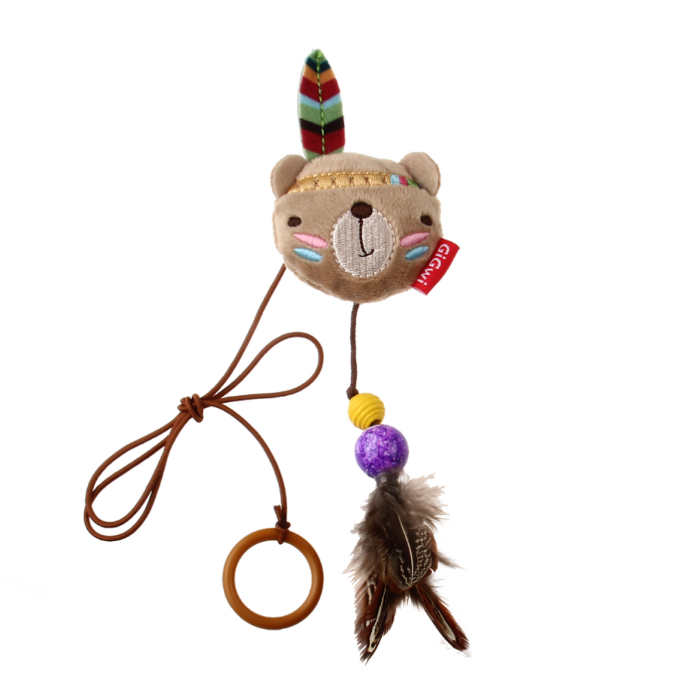 GiGwi Cat Toys - Happy Indians' Finger Ring Bear