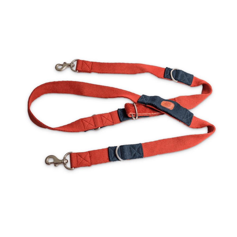 Petwale Multi-function Leash - Red with blue loops