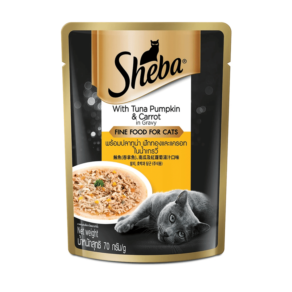 Sheba Premium Wet Cat Food - Tuna Pumpkin & Carrot In Gravy (Adult 1+) (70g x 12 Pouches)