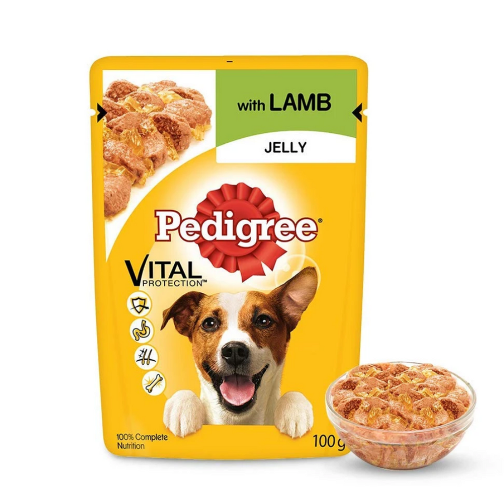 Pedigree Wet Dog Food - Lamb Jelly (Adult) (Pack of 12 - 12 pouches x 100g)
