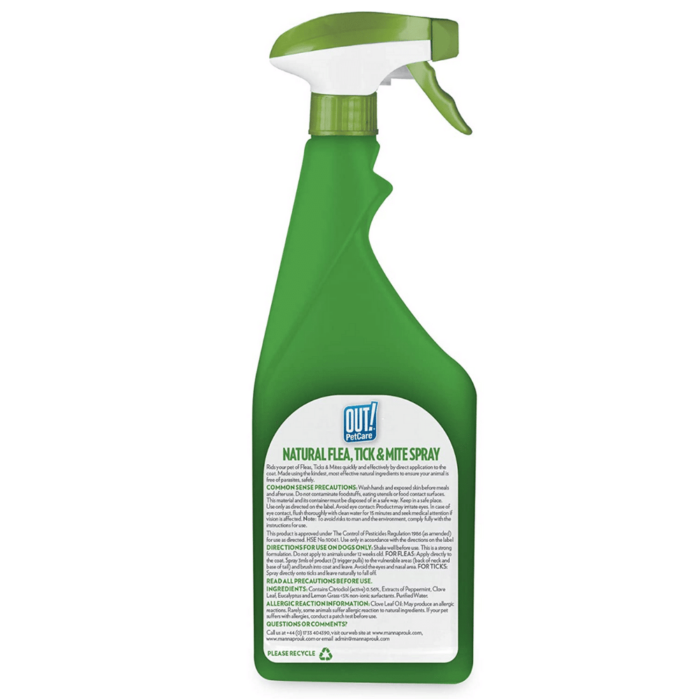 Out! Natural Flea & Tick Spray - 500 ml