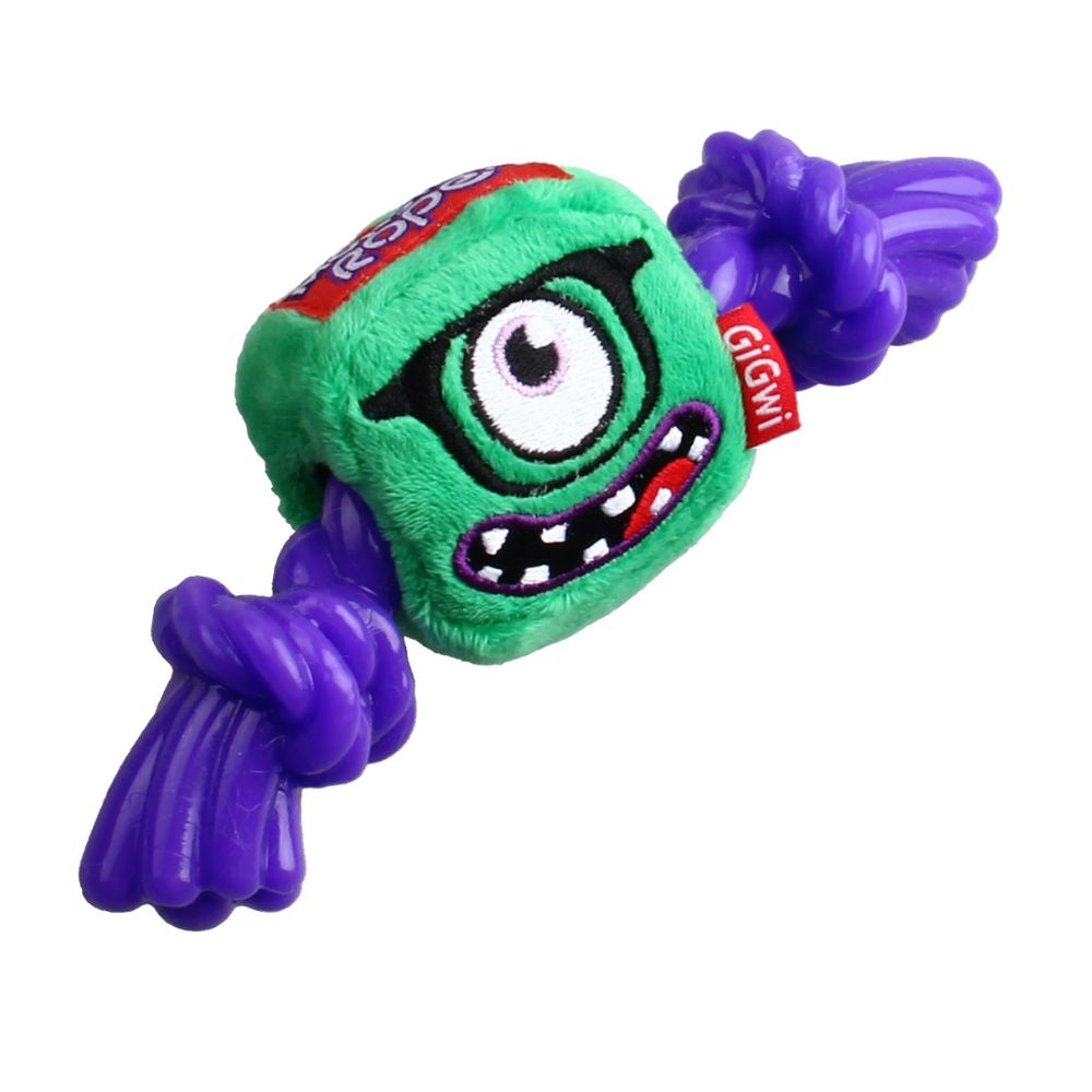Monster Rope with Squeaker - Plush/TPR - Green