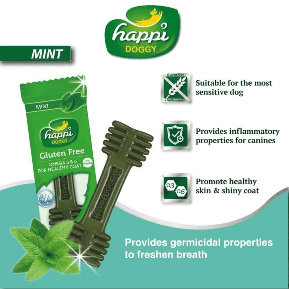 Happi Doggy Dental Chew Zest - Mint 150g