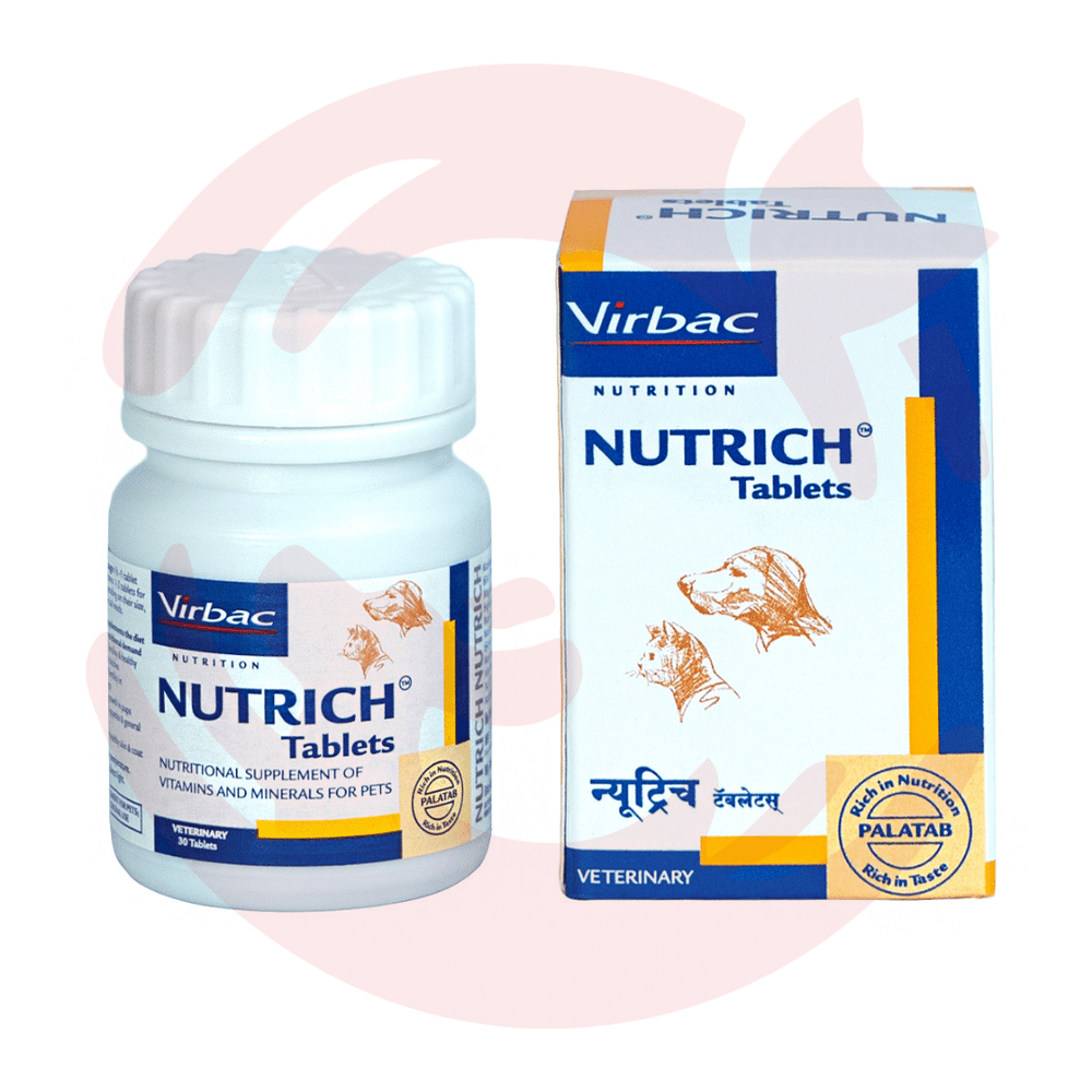Virbac Supplement for Dogs & Cats - Nutrich Vitamin & Mineral Support (30 tabs)