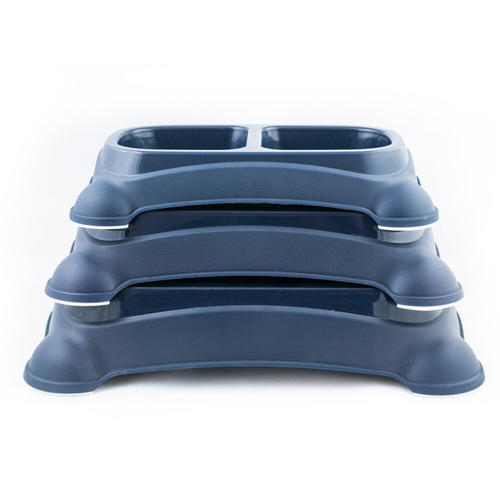 M-Pets Plastic Double Bowl - Navy Blue