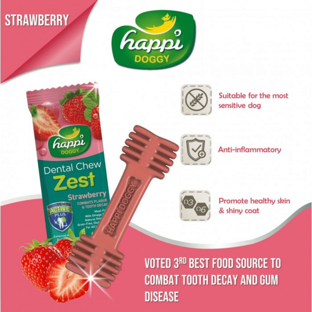 Happi Doggy Dental Chew Zest - Strawberry 150g