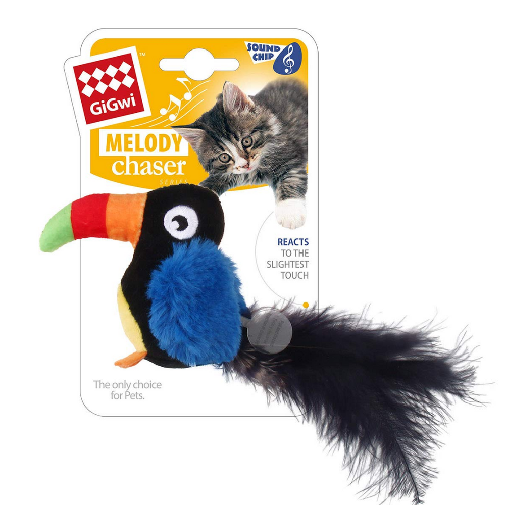 GiGwi Cat Toys - Toucan 'Melody Chaser' w/motion activated sound chip