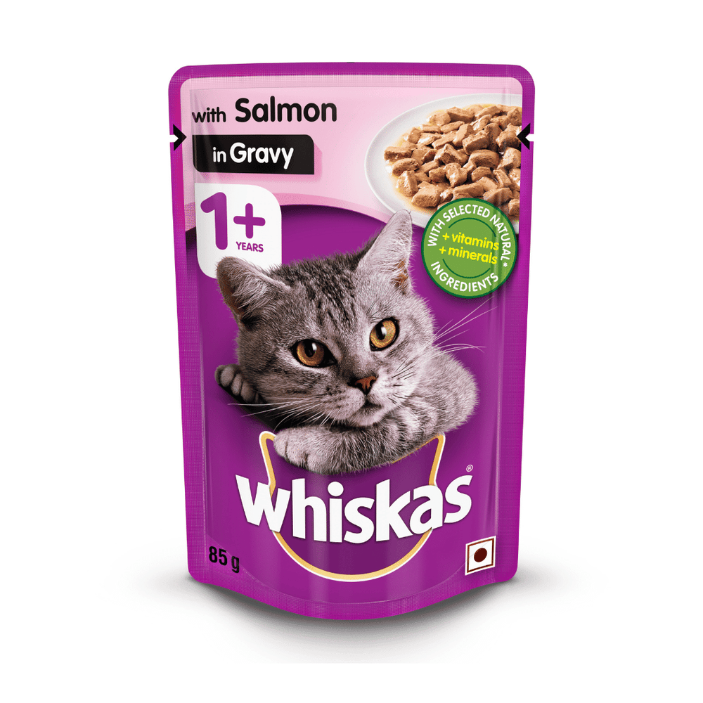 Whiskas Wet Cat Food - Salmon in Gravy - (85g x 12pouches)