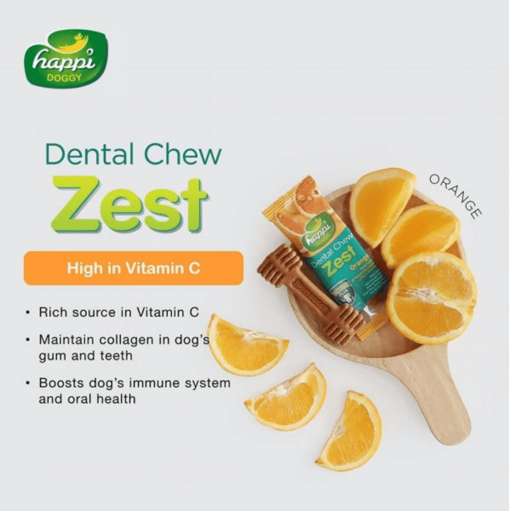Happi Doggy Dental Chew Zest - Orange 150g