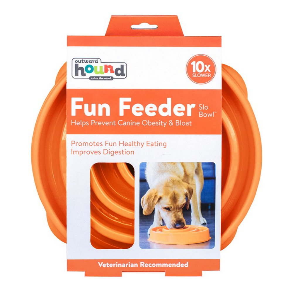 Outward Hound Fun Feeder Slo-Bowl Slow Feeder Large/Regular (Orange)
