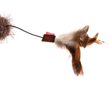 GiGwi Cat Toys - Cat Wand 'Feather Teaser' w/natural feather, plush tail and TPR handle