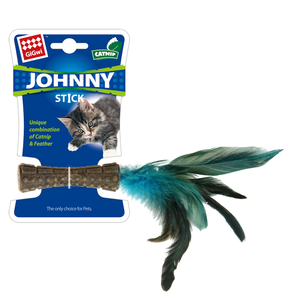 GiGwi Cat Toys - Catnip 'Johnny Stick' w/natural feather
