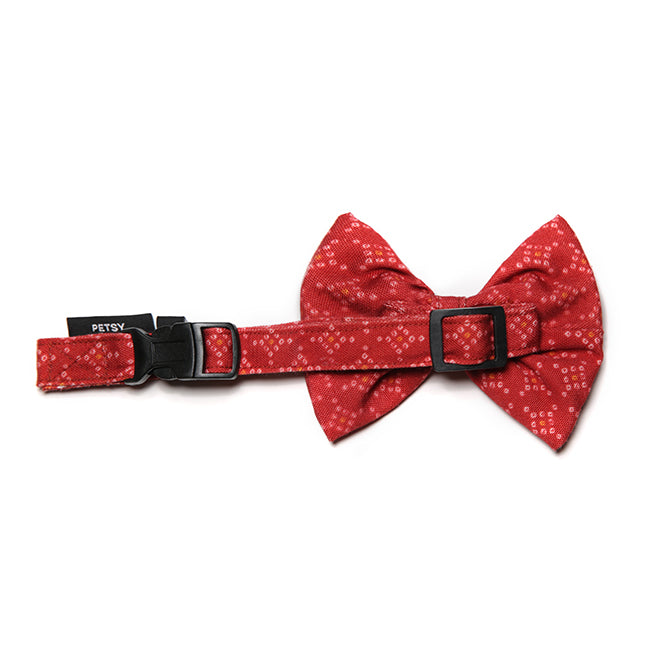 Petsy Bandhani Dog Bow With Strap - Red