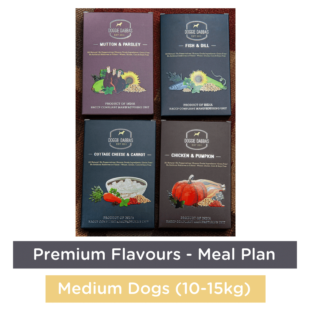 Doggie Dabbas Fresh Meals - Meal Plan for Medium Dogs (10-15kg) - Premium Flavours