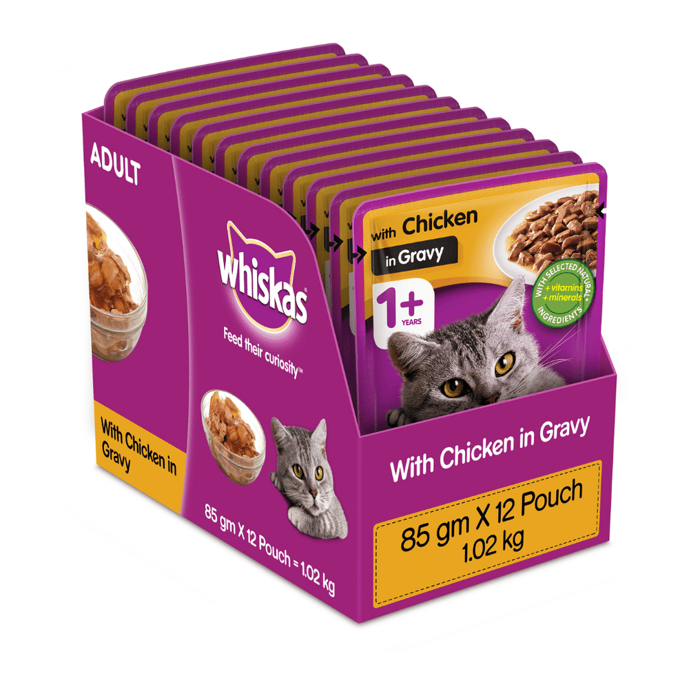 Whiskas Wet Cat Food - Chicken in Gravy - (85g x 12pouches)