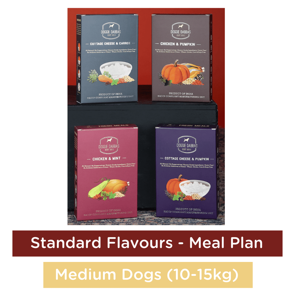 Doggie Dabbas Fresh Meals - Meal Plan for Medium Dogs (10-15kg) - Standard Flavours