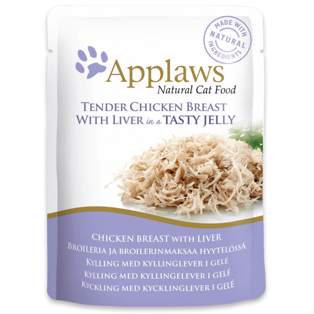 ApplawsAdult Wet Cat Food - Tender Chicken Breast With Liver in Jelly (70g x 16 Pouches)