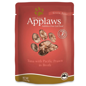 Applaws Adult Wet Cat Food - Tuna Fillet With Pacific Prawn In Broth (70g x 12 Pouches)