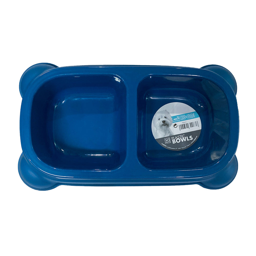 M-Pets Plastic Double Bowl - Blue