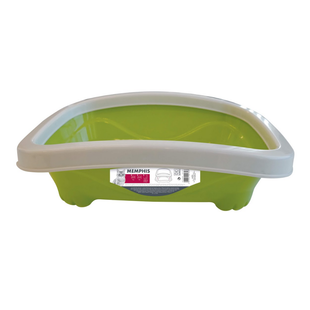 M-Pets - Cat Litter Tray With Rim - Green