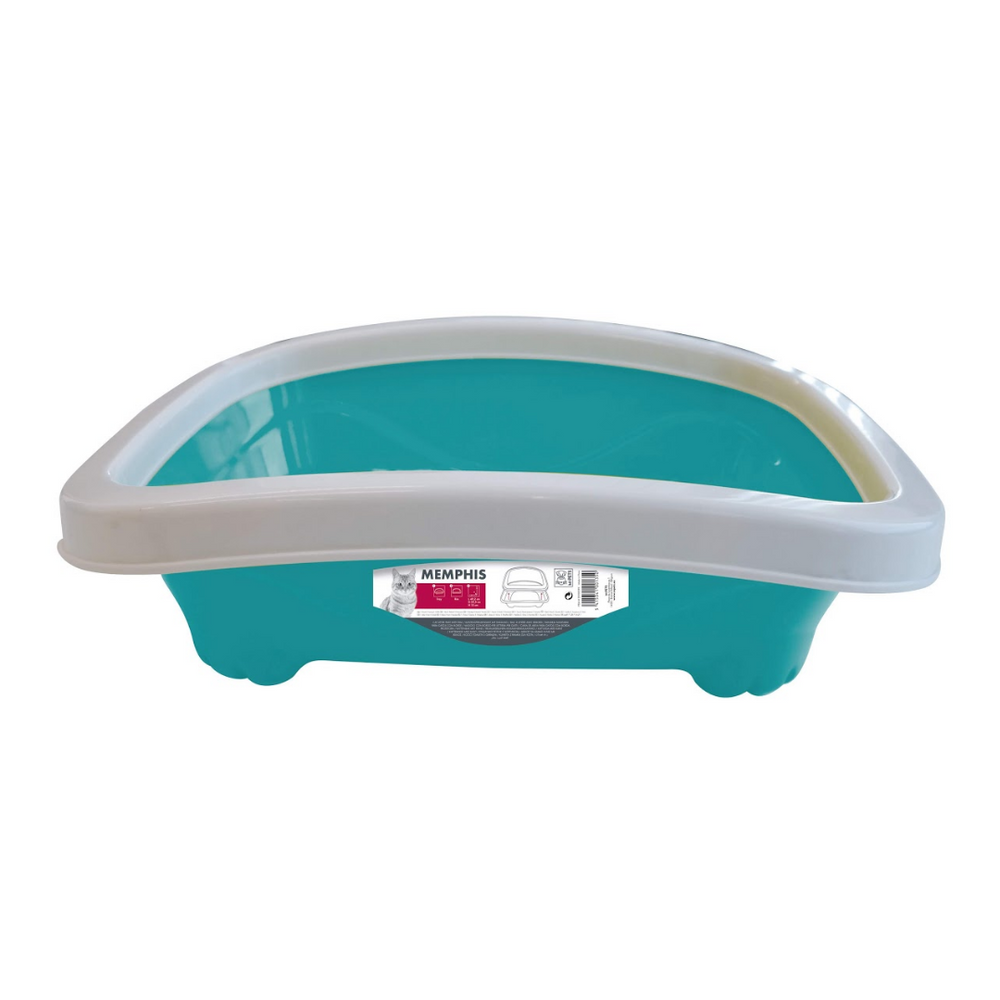 M-Pets - Cat Litter Tray With Rim - Turquoise